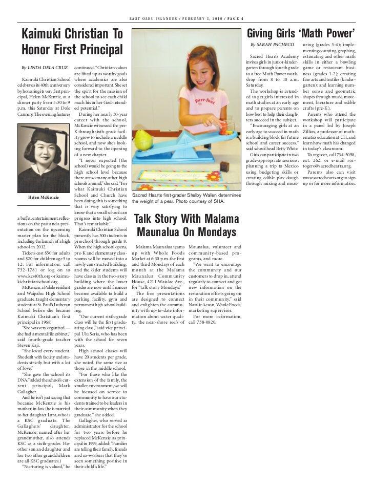 EAST OAHU ISLANDER / FEBRUARY 3, 2010 / PAGE 4  Kaimuki Christian To                                                      ...