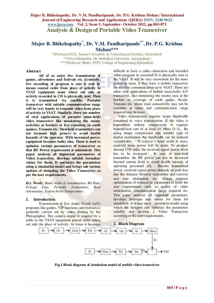 Major B. Bhikshapathy, Dr. V.M. Pandharipande, Dr. P.G. Krishna Mohan / International           Journal of Engineering Res...