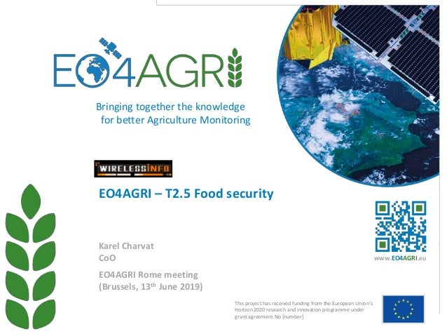 EO4AGRI Rome meeting (Brussels, 13th June 2019) EO4AGRI – T2.5 Food security Karel Charvat CoO This project has received f...