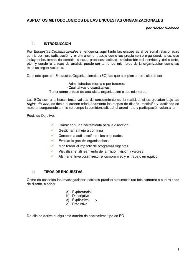 ASPECTOS METODOLOGICOS DE LAS ENCUESTAS ORGANIZACIONALES                                                                  ...