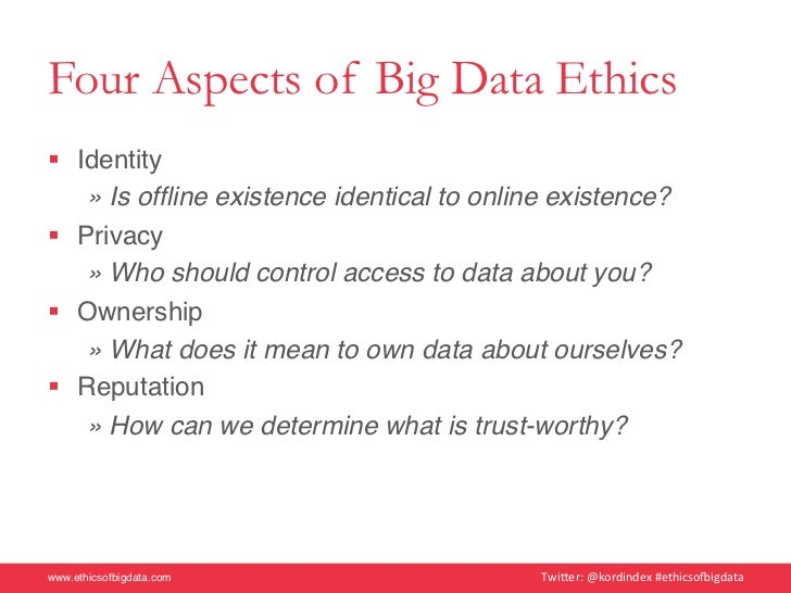 ethics of big data This brief review reflects on the ethics of big data research methodologies, and  how novel methods complicate long-standing principles of.