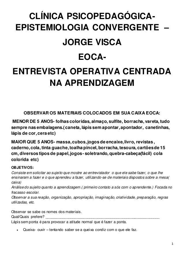 1 CLÍNICA PSICOPEDAGÓGICA- EPISTEMIOLOGIA CONVERGENTE – JORGE VISCA EOCA- ENTREVISTA OPERATIVA CENTRADA NA APRENDIZAGEM OB...