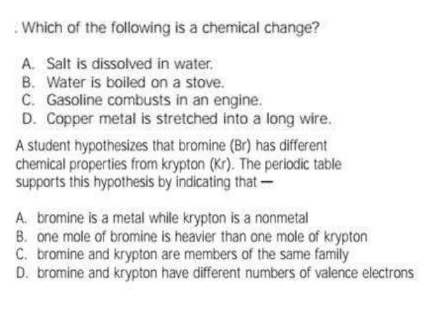 A Student Hypothesis That Bromine Has Diffrent Chemical Properties