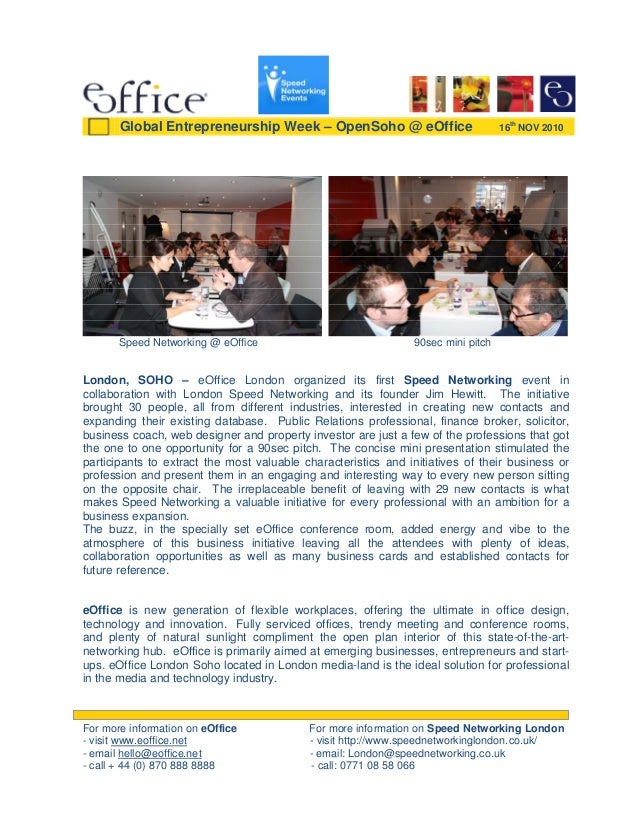Speed Networking @ eOffice 90sec mini pitch London, SOHO – eOffice London organized its first Speed Networking event in co...