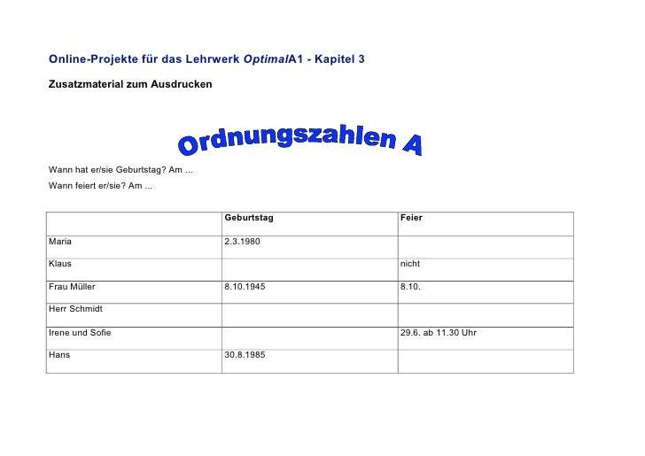 Online-Projekte für das Lehrwerk OptimalA1 - Kapitel 3  Zusatzmaterial zum Ausdrucken     Wann hat er/sie Geburtstag? Am ....