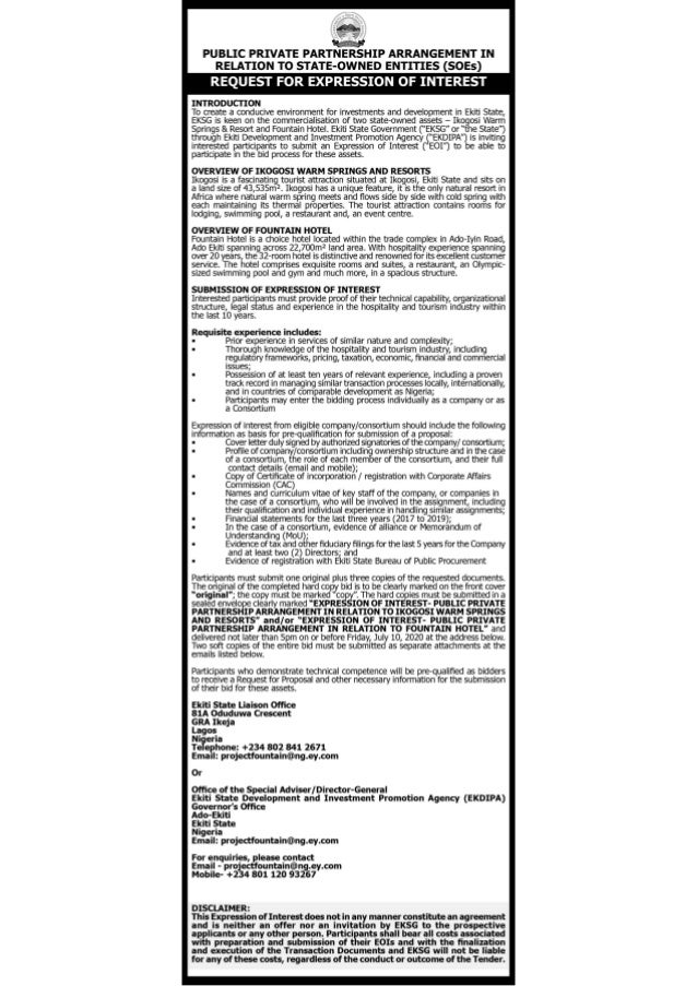 Public Private Partnership Arrangement in Relation to State-Owned Entities (Request for Expression of Interest)
