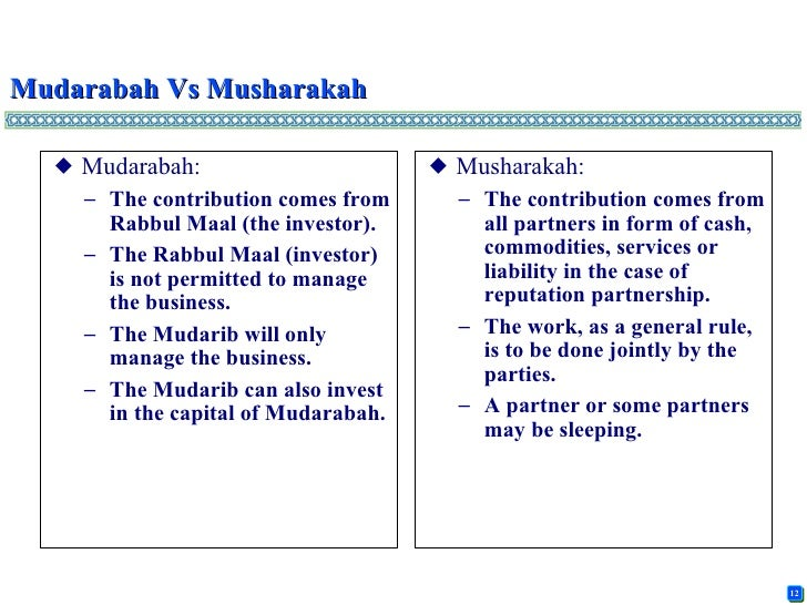 principles of musharakah and mudarabah Date of submission: 20-0 1-2016 practical application of mudarabah and musharakah: 1 project financing: basic principles of musharakah and mudarabah apply in project financing if the financier wants to withdraw from the musharakah if the management is the sole responsibility of one party the form of musharakah or.