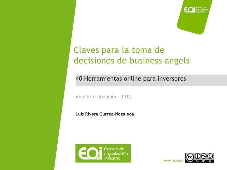 Claves para la toma de                             decisiones de business angels                              40 Herramien...