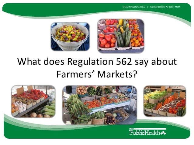 Farmers Market Food Vendor Regulation