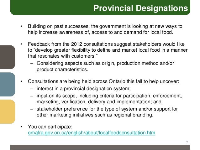 Provincial Designations •  Building on past successes, the government is looking at new ways to help increase awareness of...