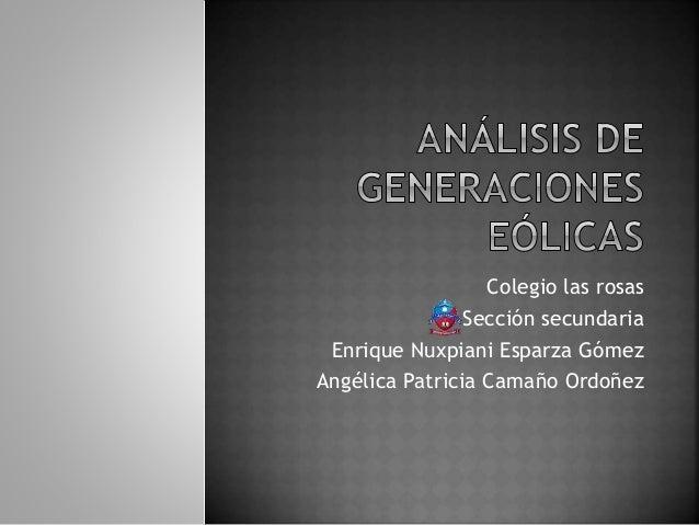 Colegio las rosas Sección secundaria Enrique Nuxpiani Esparza Gómez Angélica Patricia Camaño Ordoñez
