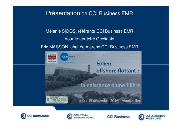 Présentation de CCI Business EMR Mélanie SIDOS, référente CCI Business EMR pour le territoire Occitanie Eric MASSON, chef ...