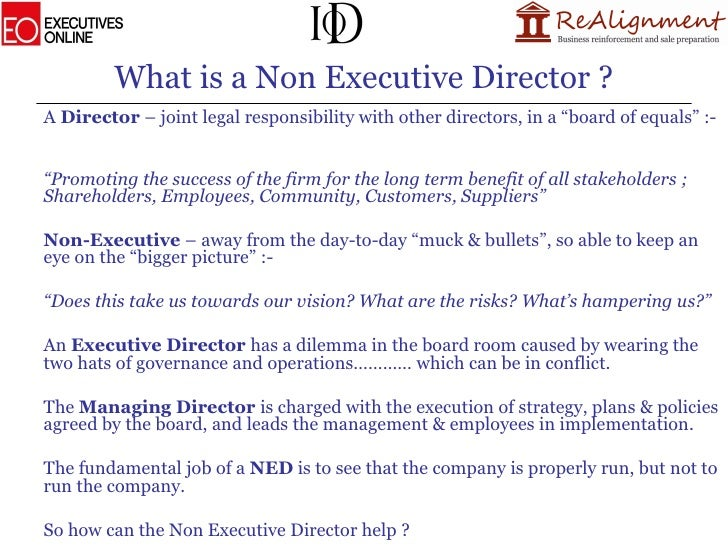 Whats Difference Between Executive >> Becoming A Non Executive Director Presentation