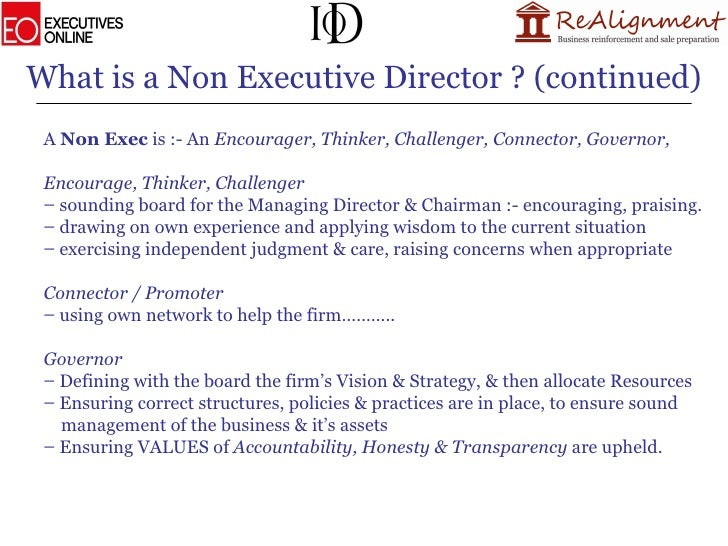 Whats Difference Between Executive >> Becoming A Non Executive Director Presentation