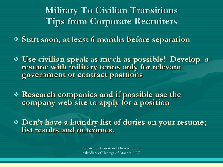Military to Civilian Resume How to Use Your Military