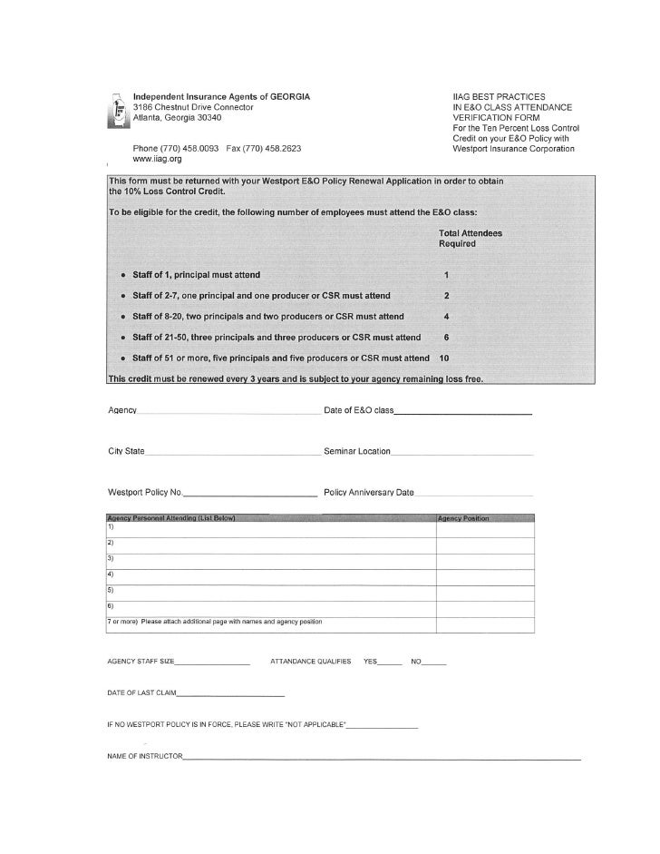 Loss Control Attendance Verification Form