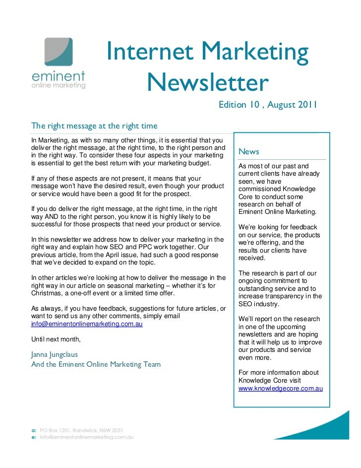 Internet Marketing                              Newsletter                                                                ...
