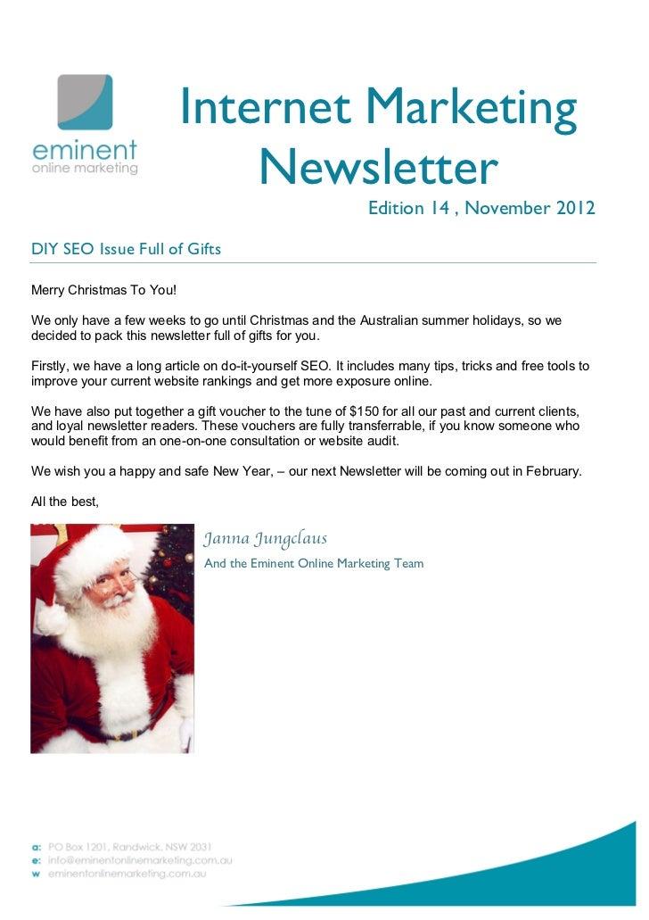 Internet Marketing                               Newsletter                                                             Ed...