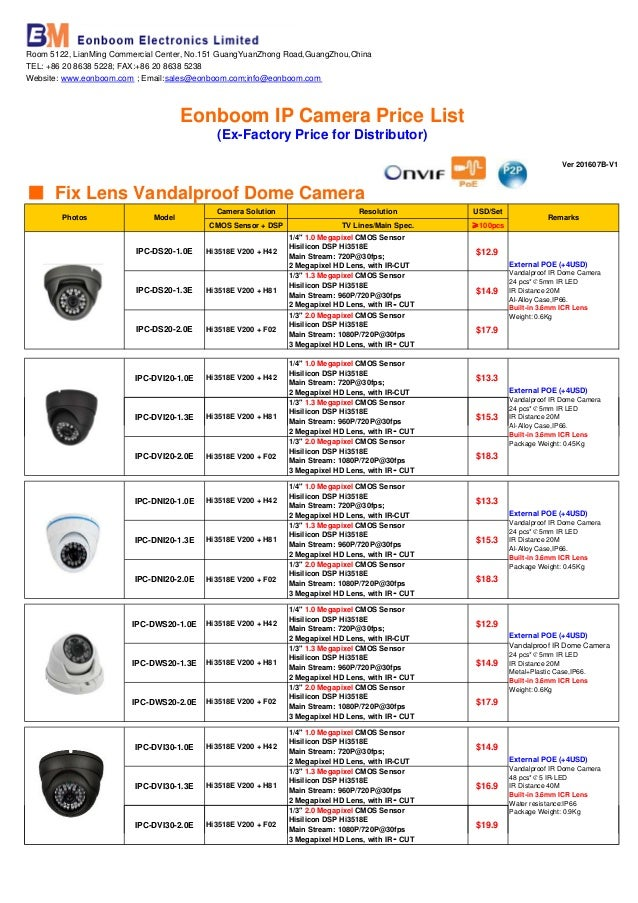 China Reliable Supplier Eonboom Ip Camera Price List 201607