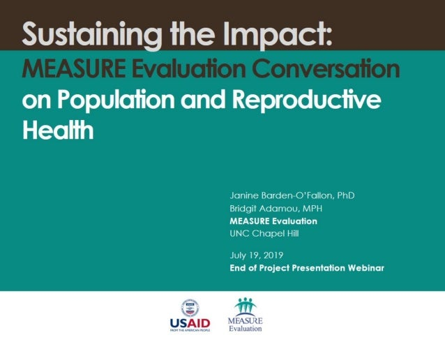 Sustaining the Impact: MEASURE Evaluation Conversation on Population and Reproductive Health