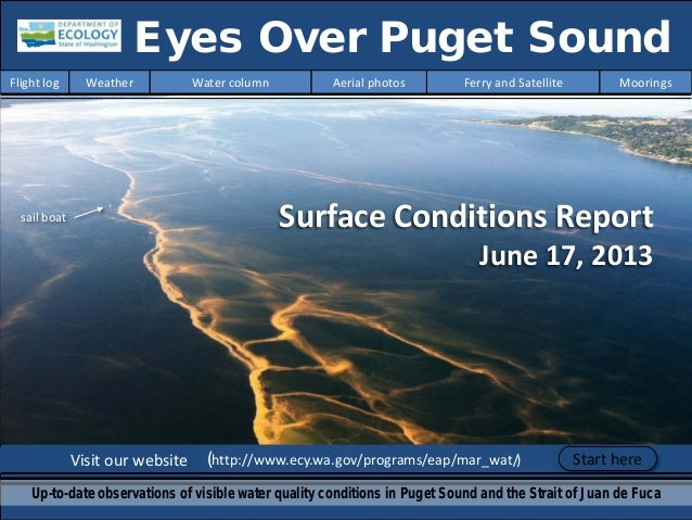 Surface Conditions Report June 17, 2013 Visit our website (http://www.ecy.wa.gov/programs/eap/mar_wat/) Eyes Over Puget So...