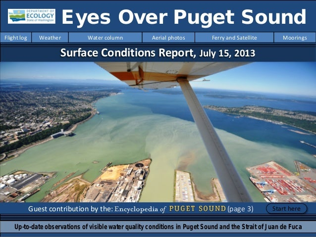 Surface Conditions Report, July 15, 2013 Guest contribution by the: (page 3) Eyes Over Puget Sound Up-to-date observations...