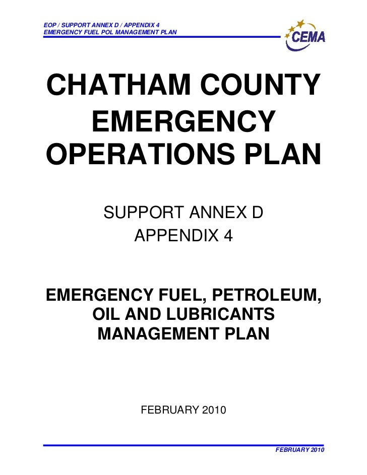 EOP / SUPPORT ANNEX D / APPENDIX 4 EMERGENCY FUEL POL MANAGEMENT PLAN     CHATHAM COUNTY   EMERGENCY OPERATIONS PLAN      ...