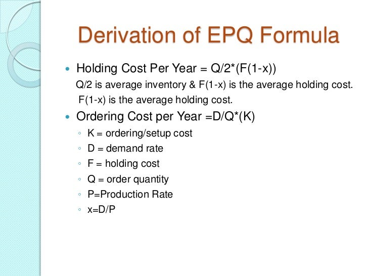 about economic order quantity Inventory control is concerned with minimizing the total cost of inventory this javascript compute the optimal values for the decision variables based on currently available information.