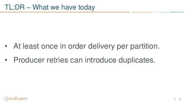 13 TL;DR – What we have today • At least once in order delivery per partition. • Producer retries can introduce duplicates.