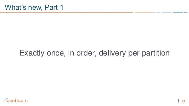 24 What's new, Part 1 Exactly once, in order, delivery per partition