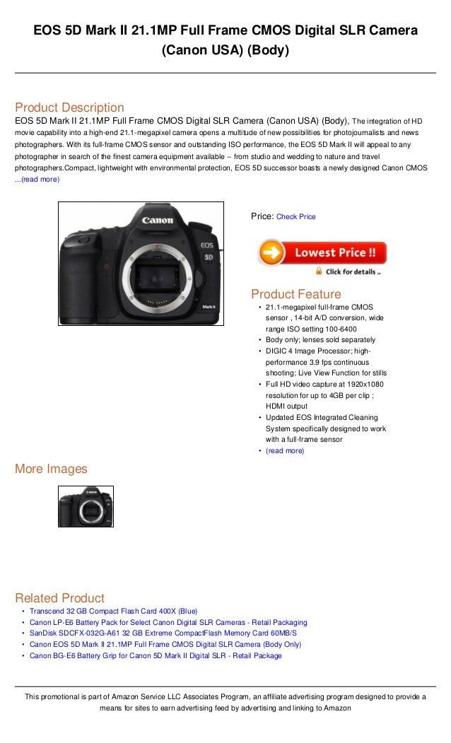 Eos 5 d mark ii 21 1mp full frame cmos digital slr camera (canon usa)…