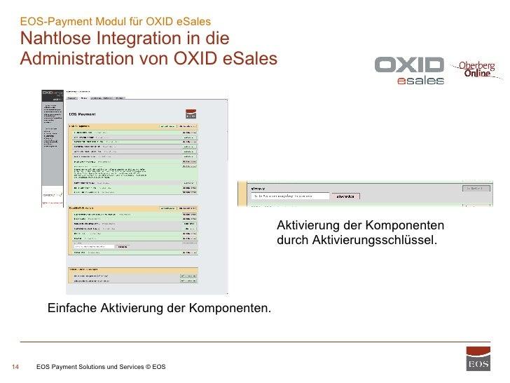 EOS-Payment Modul für OXID eSales  Nahtlose Integration in die Administration von OXID eSales EOS Payment Solutions und Se...
