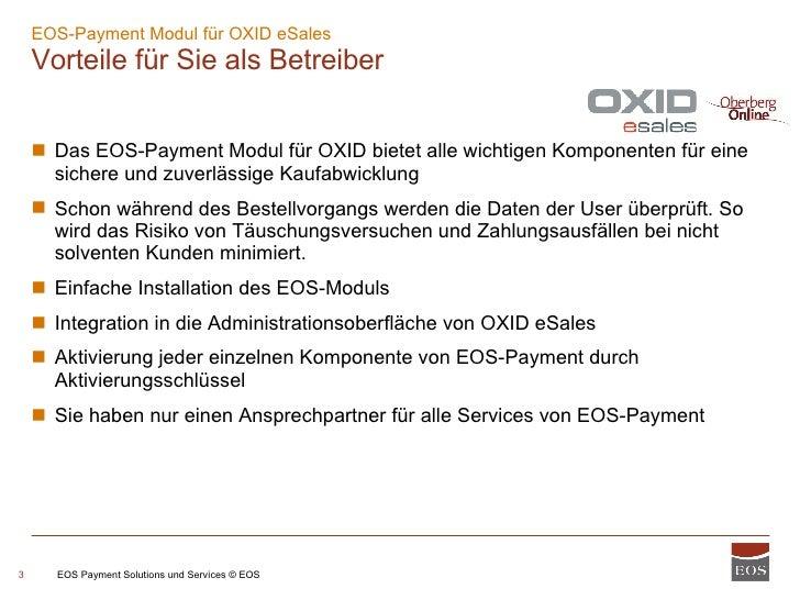 Eos Payment - Modul für OXID eSales Slide 3