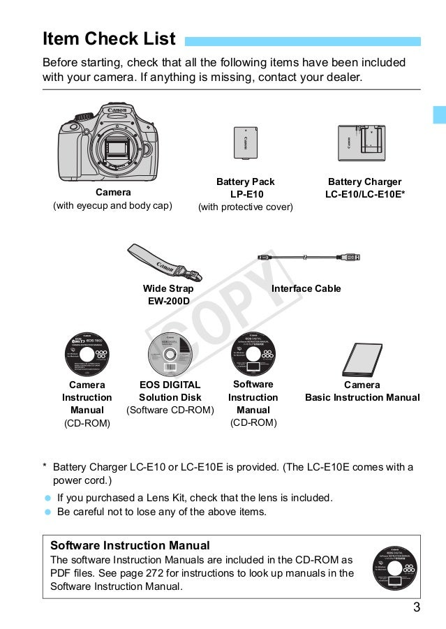 canon eos1100d instruction manual
