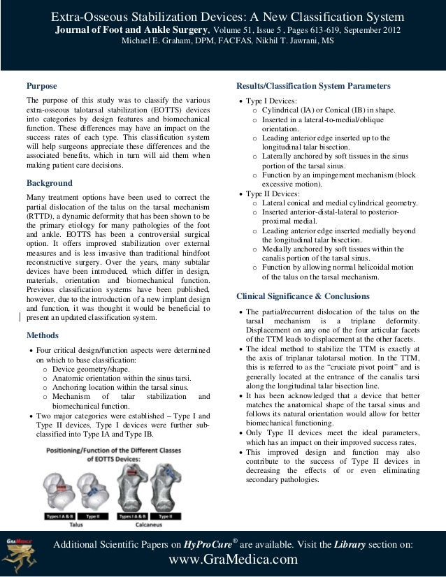 Extra-Osseous Stabilization Devices: A New Classification System        Journal of Foot and Ankle Surgery, Volume 51, Issu...