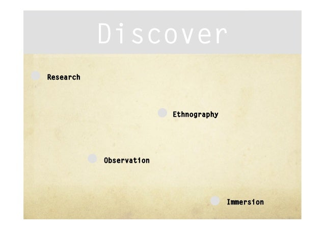 DiscoverResearch                         Ethnography           Observation                                       Immersion