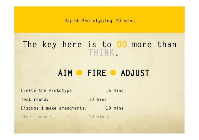 Rapid PrototypingThinking through doingAim-Fire-AdjustGetting it wrong quickly