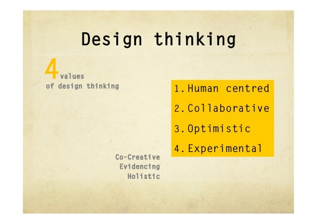 Design thinking4  valuesof design thinking                               1. Human centred                               2...