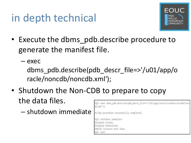 in depth technical • Execute the dbms_pdb.describe procedure to generate the manifest file. – exec dbms_pdb.describe(pdb_d...