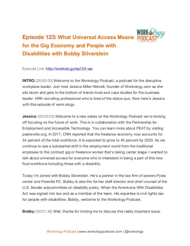 Workology Podcast | www.workologypodcast.com | @workology Episode 123: What Universal Access Means for the Gig Economy and...