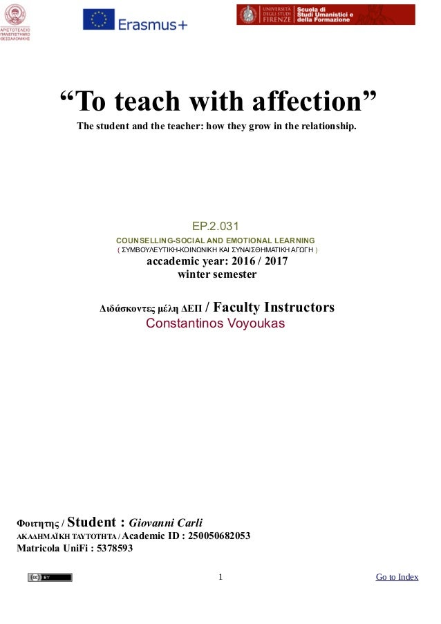 """""""To teach with affectionˮ The student and the teacher: how they grow in the relationship. EP.2.031 COUNSELLING-SOCIAL AND ..."""