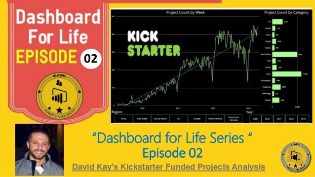 "02 David Kay's Kickstarter Funded Projects Analysis ""Dashboard for Life Series "" Episode 02"