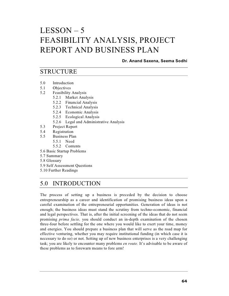LESSON – 5FEASIBILITY ANALYSIS, PROJECTREPORT AND BUSINESS PLAN                                                  Dr. Anand...