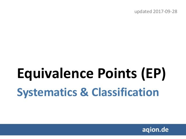 Equivalence Points (EP) Systematics & Classification aqion.de updated 2017-09-28