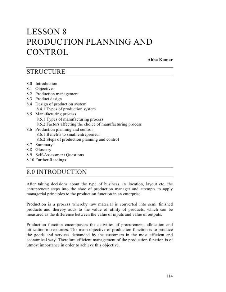 LESSON 8PRODUCTION PLANNING ANDCONTROL                                                                    Abha KumarSTRUCT...
