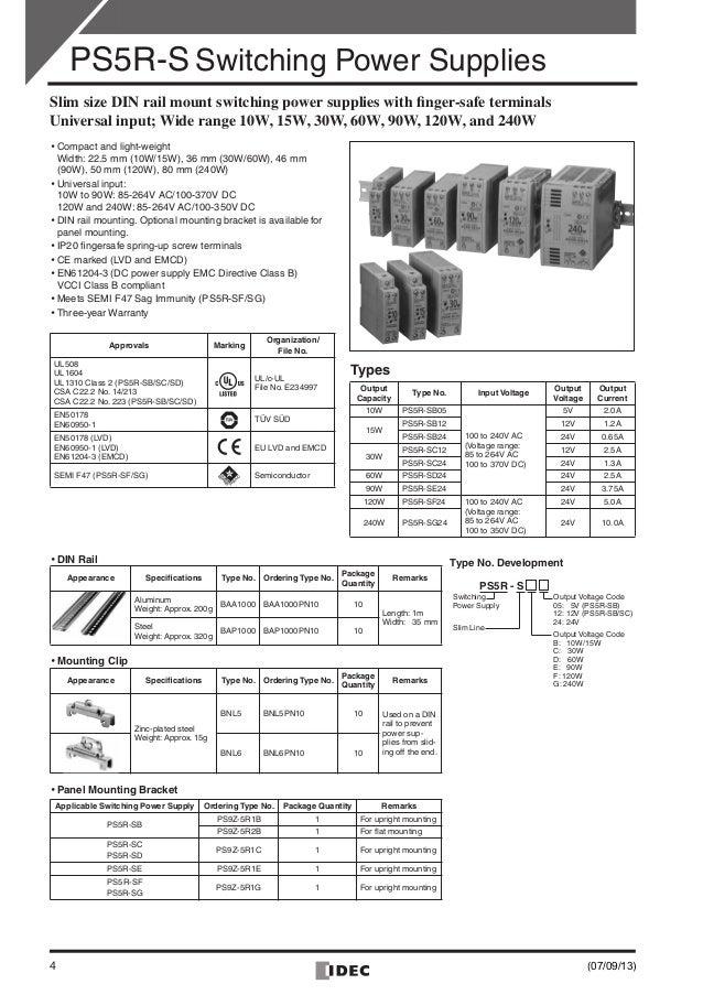 Catalog bộ nguồn IDEC PS5R-S Power Supply