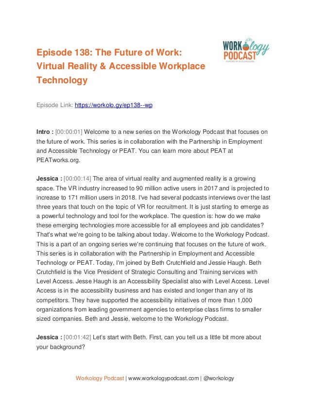 Workology Podcast | www.workologypodcast.com | @workology Episode 138: The Future of Work: Virtual Reality & Accessible Wo...