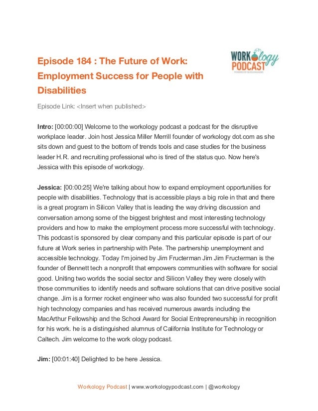 Episode 184 : The Future of Work:  Employment Success for People with  Disabilities  Episode Link: <Insert when publishe...