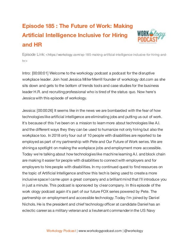 Workology Podcast | www.workologypodcast.com | @workology Episode 185 : The Future of Work: Making Artificial Intelligence...