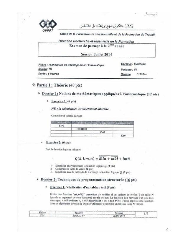 Examen de Passage 2014 TDI V1